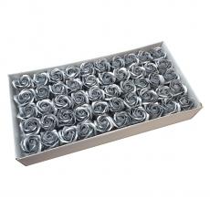 Lot de 50 roses de savon parfumées, vraie touche, argent