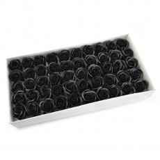 Lot de 50 roses de savon parfumées, vraie touche, noir