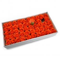 Lot de 50 roses de savon parfumées, vraie touche, orange