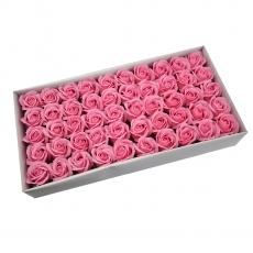 Lot de 50 roses de savon parfumées, vraie touche, rose