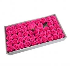 Lot de 50 roses de savon parfumées, vraie touche, rose intense
