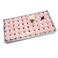 Lot de 50 roses de savon parfumées, vraie touche, rose pâle