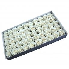Lot de 50 roses de savon parfumées, vraie touche, blanc