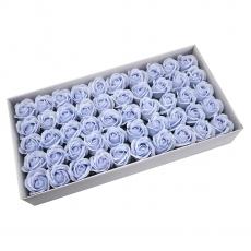 Lot de 50 roses de savon parfumées, vraie touche, bleu clair