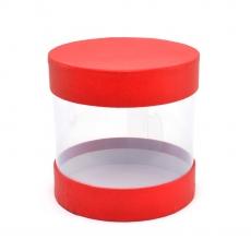 Mini coffret cylindrique transparent rouge code 21-7