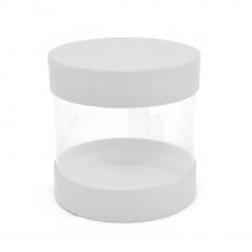 Mini boîte cylindrique transparente blanc code 21-6
