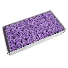 Lot de 50 roses de savon parfumées, toucher réel, lilas clair